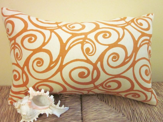"Pillow Covers, Decorative Pillow, Accent Pillow, Lumbar 12"" x 16"" Orange Swirls"