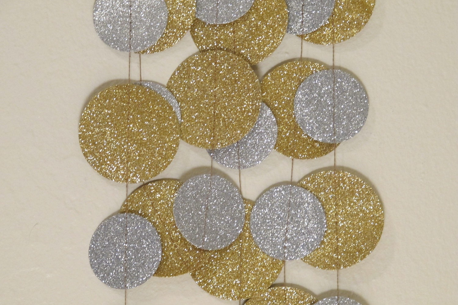 Gold And Silver Glitter Paper Garland Wedding Or Christmas