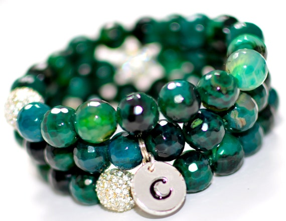 Faceted Emerald Green Agate Semi Precious Gemstone Beaded Bracelet with Silver Pave Rhinestones and Silver Initial Charm