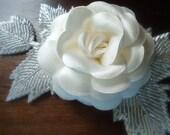 Off white Headpiece - bridal, comb, rhinestone, crystal, tiara, veil, head piece- LAURA-