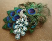 Peacock bridal headpiece. Stunning-Exquisite Peacock Feather Hair Clip. Turquoise peacock crystal brooch. -Lory-