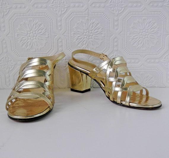 1960's Gold Sandals, Mod Slingback Pumps, by Nocturne, size 5.5, Vintage