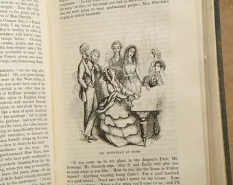 Antique book, illustrated W. M. Thackeray novel The Newcomes Victorian book