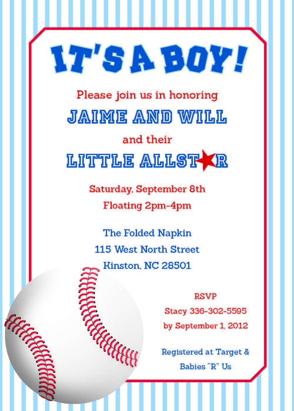 Personalized Baseball Baby Shower Invitation by ...