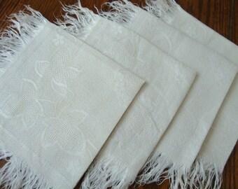 French Linen Napkins Fringe Edge Vintage