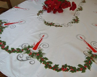 Holiday Tablecloth Vintage Table Linens Christmas Candles Tablecloth Retro