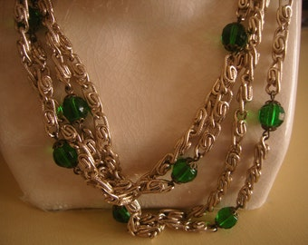 Vintage Green Glass Bright Beads Chain Long Necklace PRETTY