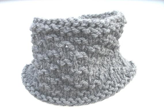 Mens knitted cowl neckwarmer  frappe grey.