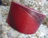 Leather Bracelet.Red Single Band Special Empaistic Leather Wristband Bracelet /Unisex