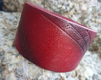 Leather Bracelet.Red Single Band Special Empaistic Leather Wristband Bracelet /Unisex