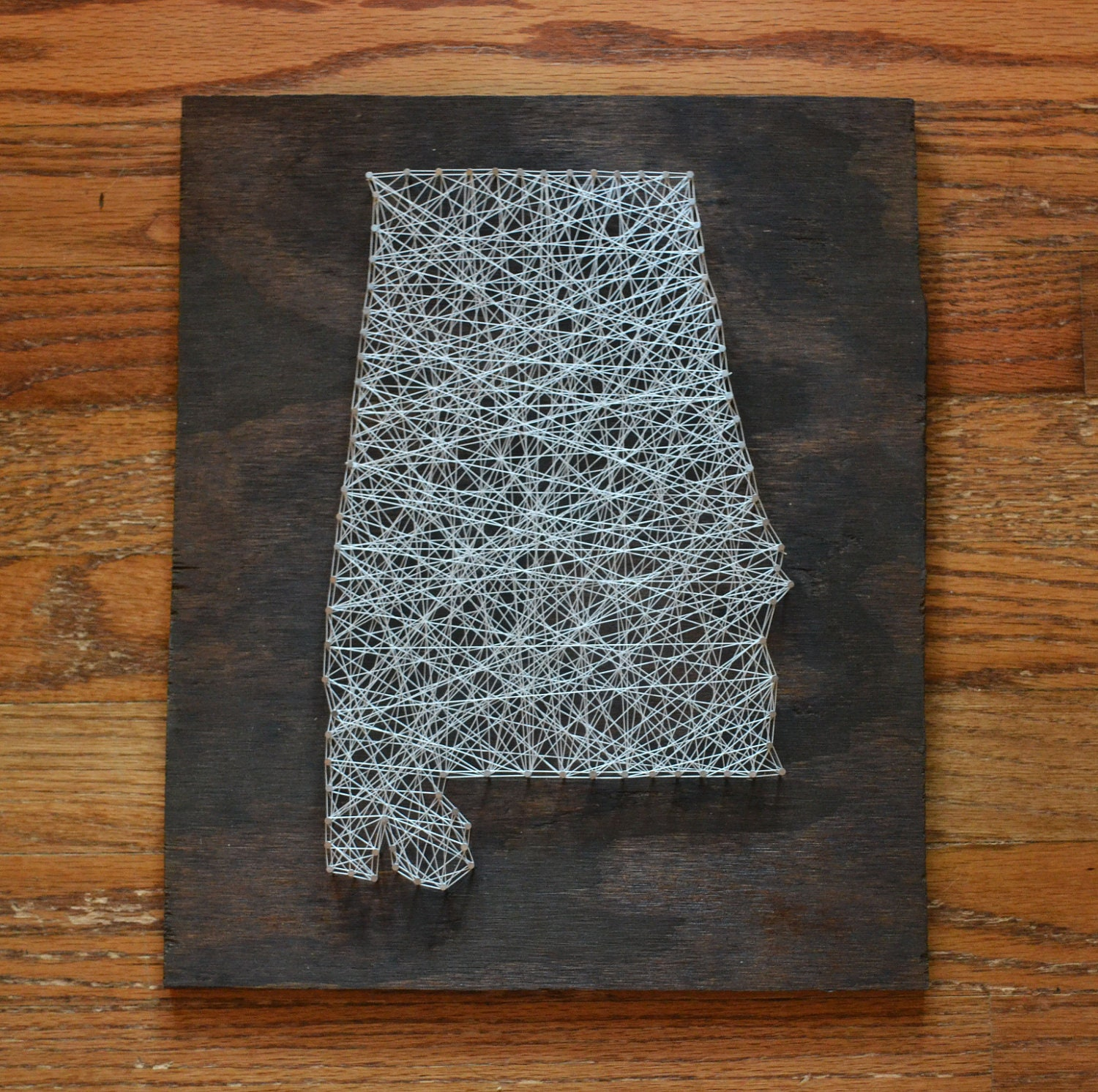 Wood Nail Art: State String Art Alabama Stained Wood Nail Art