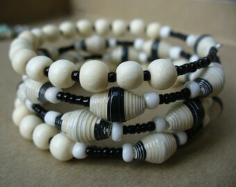 White and Black Paper Bead memory wire bracelet ~ reduced