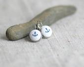 Blue Anchor Button Earrings Fabric Button Dangle Fabric Earrings
