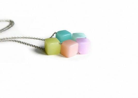 SALE Geometric Jewelry Pastel Necklace Diamond Beads Beadwork Necklace