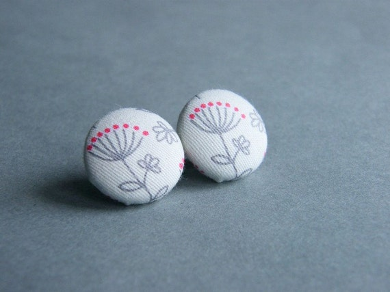 CLOSING SALE - Stud Earrings, Grey Red Flower Fabric Buttons, Handmade earrings, Covered Button Earrings