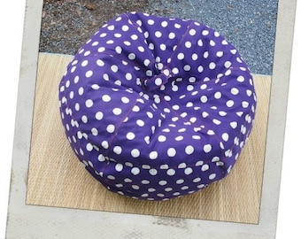 SUPER SALE - Ready to ship - V O W W - Violet and White Polka Dot Bean Bag Chair Cover - Custom made
