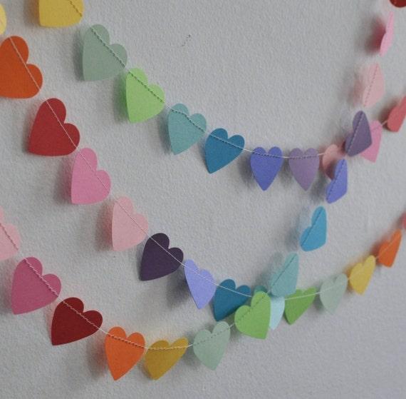 Rainbow Heart Garland, Paper Heart Garland, Heart Bunting, Paper Heart Bunting, Birthday Garland, Birthday Decor, Heart Garland