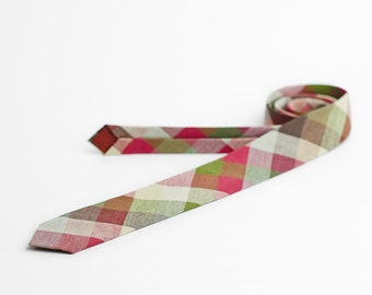 Plaid men's skinny necktie