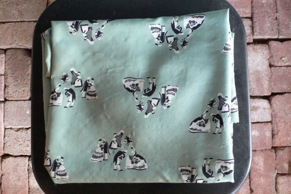vintage rayon remnant mint green dancing figures from Diz Has Neat Stuff