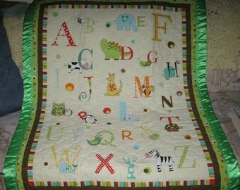 Animal Alphabet Quilted Crib Baby Quilt