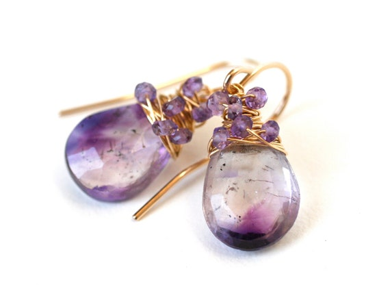 Earrings Moss Amethyst and 14k Gold Filled - Fashion Accessies, OOAK one of a kind, Purple, Violet