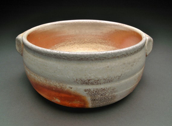 Small Round Unglazed Wood Fired Casserole Dish with Orange, Red, and Brown Flashing 29