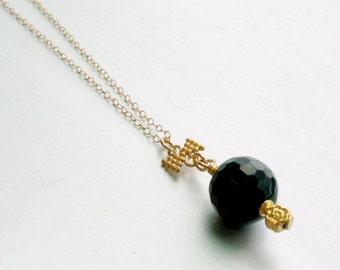 Black Necklace - Onyx Gemstone Jewelry - Bridesmaid - Yellow Gold Jewellery - Pendant N-325