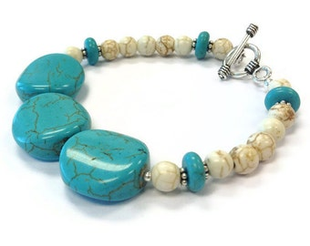 Turquoise Bracelet - White Jewelry - Sterling Silver - Gemstone Jewellery - Beaded - Unique - Funky - Fashion B-296 297