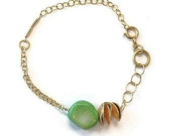 Mint Green Bracelet - Modern Jewelry - Gold Chain Jewellery - Funky - Mod - Coral Gemstone