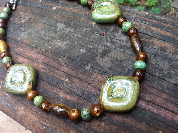 Porcelain Necklace, Earthy Tones, Greens and browns, Porcelain Beads