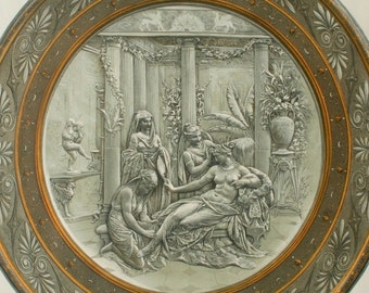 """Antique chromolithograph, """"The Pompeian Toilette"""", Original antique print, 1876"""