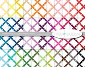 Digital Scrapbook Paper Pack  --  Rainbow Stacy Bamboo Medium White -- INSTANT DOWNLOAD