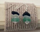 Sea Glass Earrings - Blue Trio Sterling Silver Earwire Earrings
