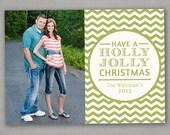 Christmas Card - Holly Jolly Chevron