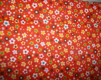 Sale Spring Street by Carolyn Gavin and Lilla Rogers studio for P and B small muti colored flowers on orange 1 yard cotton quilt fabric