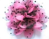 """5 Large 4D Polka Dots Mesh Lace 4.5"""" Flower-Bubblegum D007"""