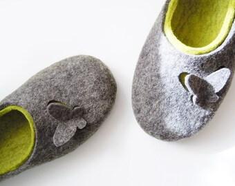 Felted woman slippers Butterflies