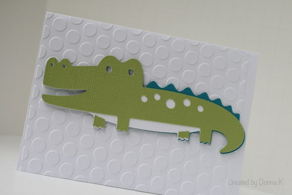 Preppy Alligator.  Thank You Note.  Lime Green. Teal.