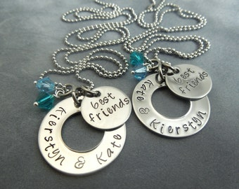 Personalized Best Friends set of 2 hand stamped stainless steel necklace