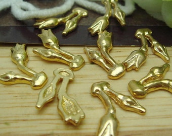 24 pcs Golden Plated Rose Bud  Charms,9X14mm (F011)