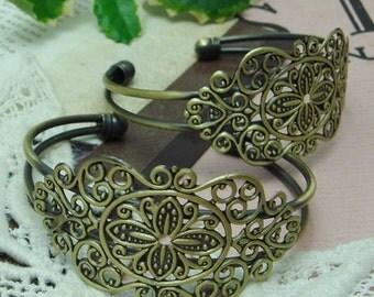 2pcs NEW  Antique Brass w/ Filigree Cuff Bracelet, Nickel Free