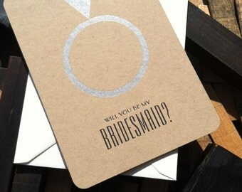 Will You Be My Bridesmaid - (9) letterpress wedding cards on kraft paper