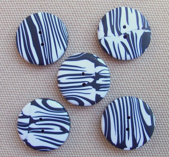 Zebra Striped Hand Crafted Polymer Clay Buttons, set of 5, 3/4 inch black and white