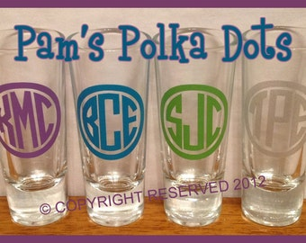 Personalized MONOGRAMMED SHOT GLASS Groomsman Best Man Bridesmaids Bachelor Bachelorette Wedding Birthday Party College