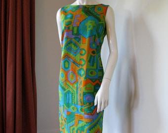 Vintage 1960s 1970s Ethnic Aztec Print Sleeveless Sheath Dress Bust 39
