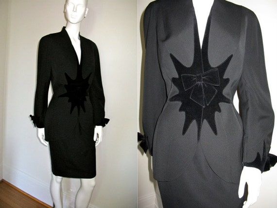 Vintage 1980s Thierry Mugler Paris Black Designer Suit with Velvet Detail Skirt Suit Cocktail Holiday Party Really Special
