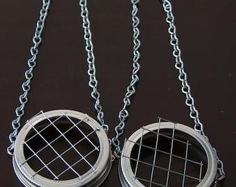 2 - Hanging Mason Jar Lids & Frog ( Silver )