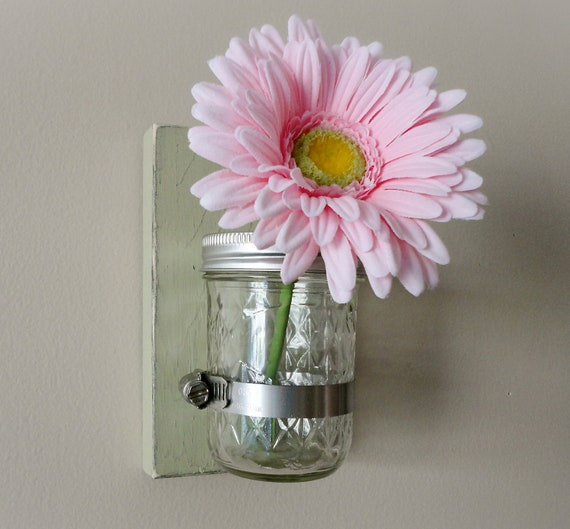 Green - Rustic Style Wall Hanger Mason Jar Vase - Cottage Style - Handmade