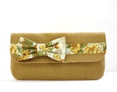 Bow Tie Clutch, Mustard Yellow Linen , Vintage Inspired Floral Cotton, Cream, Green, Purse, Handbag