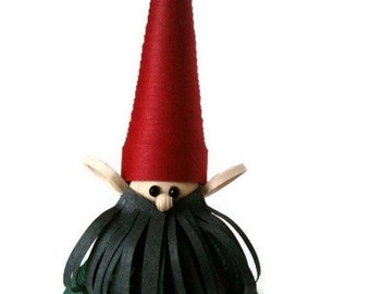 Scandinavian Christmas Ornament Nisse Christmas Ornament Paper Quilled with Dark Beard